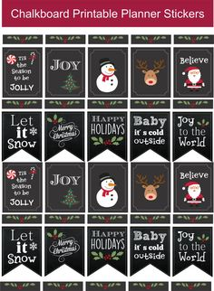 Chalkboard Christmas Printable Planner Stickers / Instant Download / Stickers for Life Planner / Journals / December Planner Stickers