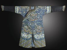 Gold and blue Kesi 'Dragon' Robes,China, Qing Dynasty, 19th Century