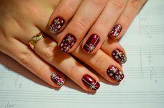 Beautiful new year's nail, Christmas nails, Manicure in red colors, Nails ideas 2017, New year nails ideas 2017, Party nails ideas, Snow nails, Snowflake nail art