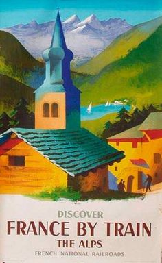 France by Train, vintage travel poster, by Jacques Nathan-Garamond, 1958