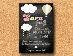 Convite Nuvem Chalkboard Balão digital