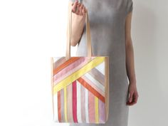 Striped Multicolor Leather Tote apricot cotton by alexbender
