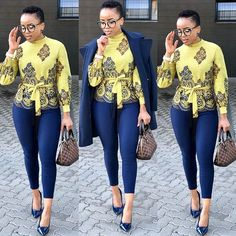 Image may contain: 3 people, people standing and shoes Classy Work Outfits, Chic Outfits, Fashion Outfits, Corporate Wear, Corporate Fashion, Ladies Day Dresses, African Clothing For Men, Business Casual Attire, Latest African Fashion Dresses