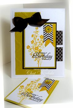 ATC card used as topper for this card . white card with three colors: Crushed Curry, Chocolate chip and summer Starfruit . like the way the card design makes the ATC shine . Stampin Up! Atc Cards, Paper Cards, Greeting Cards, Sympathy Cards, Handmade Birthday Cards, Happy Birthday Cards, Birthday Wishes, Stamping Up Cards, Artist Trading Cards