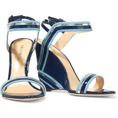 Emilio Pucci Suede-trimmed patent-leather wedge sandals ($380) ❤ liked on Polyvore featuring shoes, sandals, wedge heel sandals, wedge sandals, ankle wrap sandals, ankle tie sandals and wedges shoes