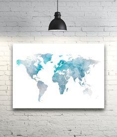 Aquarel Decor blauwe wereld kaart Wall Art Blue aquarel