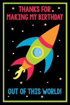 Space Birthday Party Invitations Pack