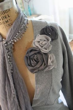 grey with a scarf and flowers...what more could you ask for?