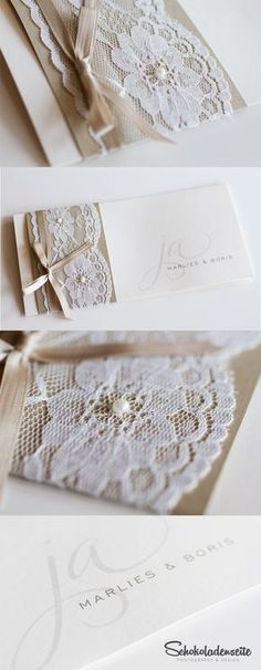 Here is one of our charming cards with high quality lace. In combination… - Wedding Deco Wedding Cards, Diy Wedding, Dream Wedding, Wedding Day, Party Centerpieces, Wedding Decorations, Shower Invitations, Wedding Invitations, Event Planning Business