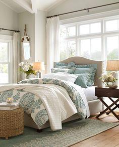 PB Bedroom.. wall color, trim color, dark walnut furniture accents