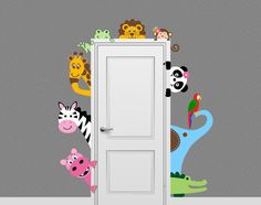 Jungle Safari Animal Decal Peeking Door Hugger Nursery Wall Decal on Etsy… Baby Bedroom, Baby Room Decor, Kids Bedroom, Nursery Decor, Wall Decor, Nursery Ideas, Decoration Creche, Safari Animals, Jungle Safari