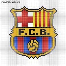 Escudo FCB punto de cruz Hama Beads, Fc Bacelona, Fcb Logo, Liverpool, Arsenal, Pixel Crochet, Barcelona, Pixel Art, New Art