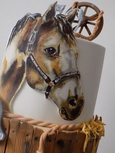 Hand painting cake with horse