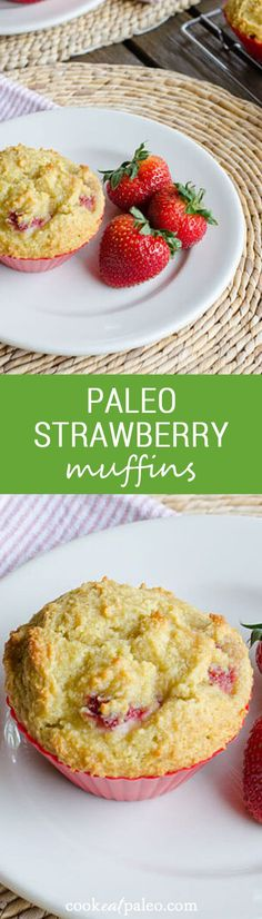 Paleo Strawberry Muffins, Food And Drinks, These gluten-free, grain-free strawberry paleo muffins are perfect for breakfast or an afternoon snack — a great way to use fresh strawberries this . Paleo Baking, Paleo Bread, Paleo Food, Paleo Sweets, Paleo Dessert, Dessert Recipes, Paleo Breakfast, Breakfast Recipes, Breakfast Cake