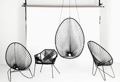 Fine nyheder til dit uderum - Rumid Acapulco Chair Rattan Furniture, Cool Furniture, Furniture Design, Acapulco Chair, Luminaire Design, Vintage Design, Hanging Chair, Chair Design, Interior Inspiration