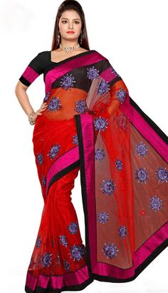 Buy Beautiful Ethnic #DeepRedNettDesignerSaree Product code: KDS-39243 Price: INR 2900 (Unstitch Blouse), Color: Deep Red Shop Online now: http://www.efello.com.my/Saree_Beautiful-Ethnic-Deep-Red-Nett-Designer-Saree,-Sari_37682