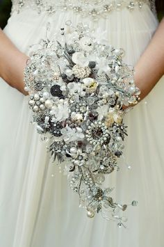 Jeweled Bouquet from Debbie Carlisle Bouquets (UK)     If that's too far I bet DIY would work.