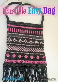 Free Knitting Pattern - Easy Fair Isle Bag. Use our pattern to create a fair isle bag. #craftown #knitting #fairisle