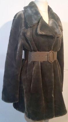 ded1681f5 basic line casual wear Women's faux Gray Fur Coat Jacket SZ D/NL 42. art ·  ANN DEMEULEMEESTER original leather ...