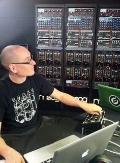 Richard Devine, the Minitaur, and a glorious wall of Moog.