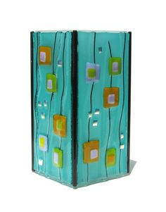 Candle Box, Candle Holders, Fused Glass Art, Stained Glass, Fuse Panel, Glass Fusion Ideas, Glass Fusing Projects, Kiln Formed Glass, Ocean Colors