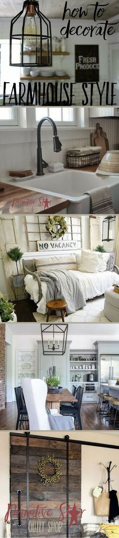 How To Decorate Farmhouse Style -- The Farmhouse style is a blend of primitive, modern, country, industrial. It is versatile and uses a lot of different textures, metals, woods, and textiles. Take a closer look at the elements of creating the farmhouse look, such as paint color, lighting, flooring, textiles, curtains, decor and more. www.primitivestar... #farmhouse #fixerupper