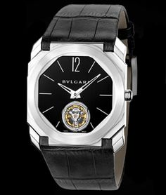 Bulgari Octo Finissimo Tourbillon, Platinum case with black lacquer dial. Available at Cellini Jewelers