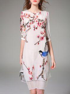 White Half Sleeve Silk Shift Midi Dress