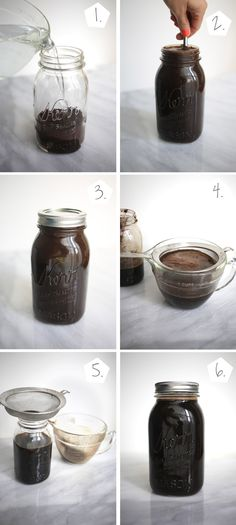 How to Make Cold-Brew Coffee |  1 and 1/3 cups ground coffee 4 cups water (room temp) Jar or pitcher, Fine mesh strainer  (could use grounds for a 2nd brew at this strength, add concentrate to 1st brew, mix) - do room-temp, 24 hours.