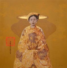 Artist - Bui Huu Hung Title - Lady with Incense Burner Medium - Lacquer on Board Dimensions - 122x122 Status - Private Collection Hong Kong