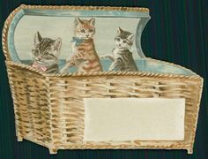 Helena Maguire. Cats in wisker basket Victorian Greeting Card, c1890s.