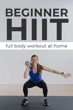 Start your fitness journey with this quick and efficient 10-Minute Beginner Workout -- low impact HIIT with one dumbbell! This is the perfect workout for building strength and cardio endurance at home without any jumping! Add a single dumbbell for more resistance, or do it with just your bodyweight! Low Impact Hiit, Low Impact Cardio Workout, Hitt Workout, Full Body Workout At Home, Cardio Workout At Home, 20 Minute Workout, At Home Workouts, Beginner Full Body Workout, Body Weight Hiit Workout