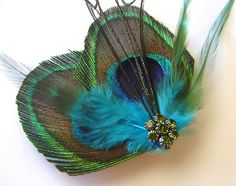Peacock Feather Hair Clip AQUAMARINE BUTTERFLY by maggpieseye, $18.00