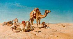 A Halt in the Desert by William Luker, From the collections of Wolverhampton Art Gallery. Unframed prints from Buy Prints Online, Rajasthani Painting, Desert Art, Desert Life, History Posters, Arabian Art, Oriental, Art Uk, Islamic Art