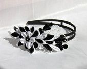 Kanzashi headband / black white /  gift for girls/  gift for her / Ready to ship