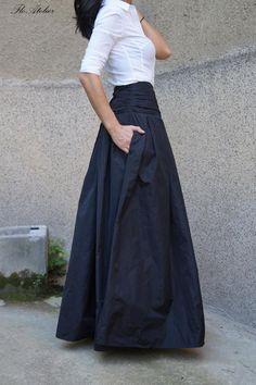 Lovely Black Long Maxi Skirt/High or Low Waist Skirt/Long Waistband Skirt/Handmade Skirt/Low . : Lovely Black Long Maxi Skirt/High or Low Waist Skirt/Long Waistband Skirt/Handmade Skirt/Low Waisted Black Skirt/Formal Mode Outfits, Skirt Outfits, Waist Skirt, Dress Skirt, Taffeta Skirt, Mode Simple, Look Fashion, Womens Fashion, Handmade Skirts