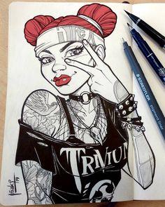 Metalhead Lifeline by muglo on DeviantArt Girl Drawing Sketches, Girl Sketch, Drawing Ideas, Girl Drawings, Drawing Tips, Chola Girl, Comic Art Girls, Graffiti Characters, Spanish Art