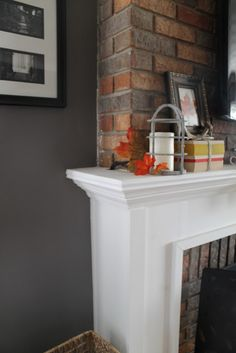 Hammers and High Heels: Revisiting Our Fireplace DIY Projects: Building a Mantel For Under $100 & Mounting a TV to a Brick Fireplace