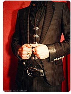 Sinner/Saint Menswear ~ Anthony Malat :: Black with red pinstripes suit!