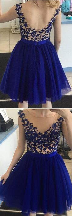 Short Homecoming Dress With Beading And Applique , Short Prom Dress