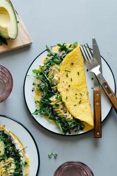 "Breakfast For Dinner: ""Cream Cheese"" Omelettes w/ Balsamic Greens"