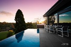 Completed in 2013 by Out From The Blue Swimming Pool Construction. The Hawthorn 3 project, located in melbourne, highlights the companies ability to work on steep sloping sites with extremely detailed design complexity. The project includes a pool and outdoor entertaining terrace suspended well above natural ground level. The pool features an infinity edge and bisazza glass mosaic tile for full effect.