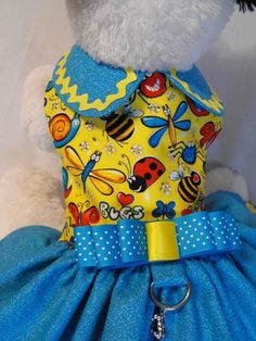 bugs and butterflies dress by dressmeupscottie on Etsy Cheap Dog Clothes, Girl Dog Clothes, Large Dog Clothes, Yorkie Clothes, Doll Clothes, Ferrets Care, Pug Accessories, Dog Christmas Clothes, Dog Clothes Patterns