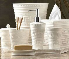 Refresh your master bathroom with our textured Santorini Countertop Collection.