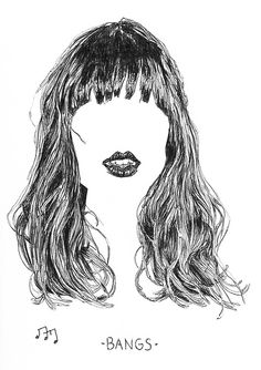"""New from the studio, Ink on paper """"Bangs"""". Bangs, Doodles, Ink, Drawings, Fringes, Bangs Hairstyle, Sketches, India Ink, Drawing"""