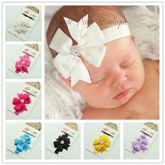 Baby Bow Rhinestone Headband Hair Bowknot Headbands Infant Hair Accessories Toddler Headband