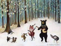 Print / Whimsical Woodland / Forest Festivities / Woodland Art / Nursery Art / Animal Band / Home Decor / Banjo / Black Bear / Fox art - © 2011 Forest Festivities It& a winter fest y all! An print done from my original acr - Art Prints, Illustrators, Folk Art, Animal Art, Animal Nursery Art, Woodland Art, Painting, Illustration Art, Art