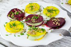 <p>Raw beets layered with flavorful, cilantro cream make for a delicious and nutritious light meal. </p>