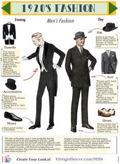 Men's and women's fashion history articles and guides to dressing for a roaring twenties themed event. From flappers to gangster authentic style costumes are possible. Anos 20s, Moda Art Deco, Vintage Outfits, Vintage Fashion, Roaring 20s Mens Fashion, 1920s Mens Fashion Gatsby, 1920s Fashion Male, 1920s Man, 1920s Flapper