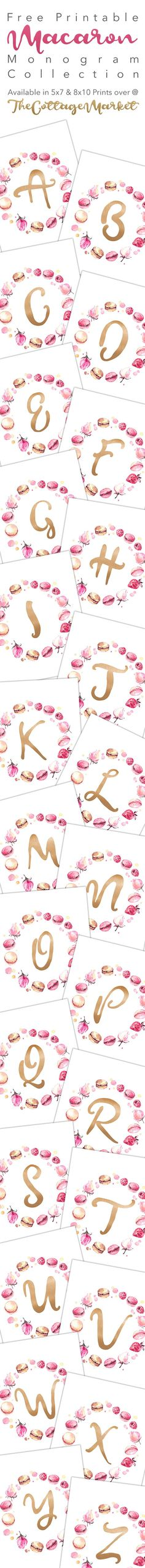Free Printable Macaron Monogram Collection